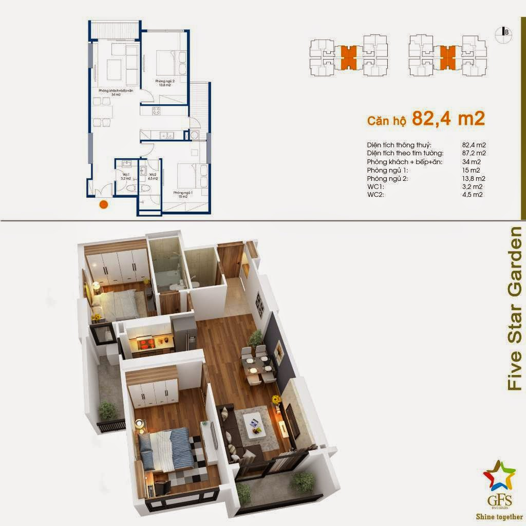 chung cu five star garden can ho 82m2